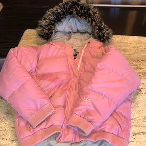 THE NORTH FACE PINK PUFFER JACKET WITH FUR HOOD